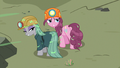 Pinkie and Maud covered in quarray eel saliva S7E4.png