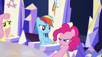 Pinkie inspects Rainbow's cutie mark S5E22