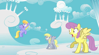 Ponies shocked because Cloudsdale is crumbling S2E01