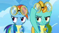 Rainbow Dash and Lightning Dust looking determined S3E7