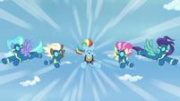 Rainbow flying with the new Wonderbolts S9E26