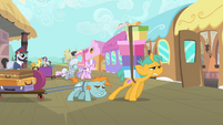 Snips and Snails walking towards the train S4E05