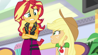 Sunset and Applejack look a little worried EGROF