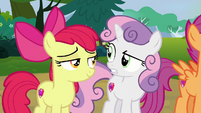 Sweetie Belle confused by Apple Bloom's claim S7E21