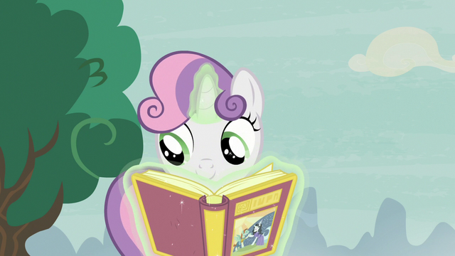 File:Sweetie Belle opening the book of fairy tales S7E8.png