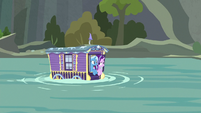 Trixie and Starlight's wagon floats downstream S8E19