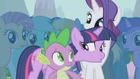 Twilight shushes Spike S1E06