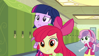 Apple Bloom and Sweetie Belle in hallway EG