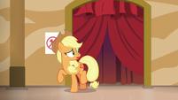 Applejack hears a commotion backstage S6E20