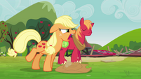 Applejack tells the Pinkie clones to come back S3E03