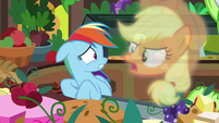 "Applejack vision ""they can only eat soft foods!"" S8E5"