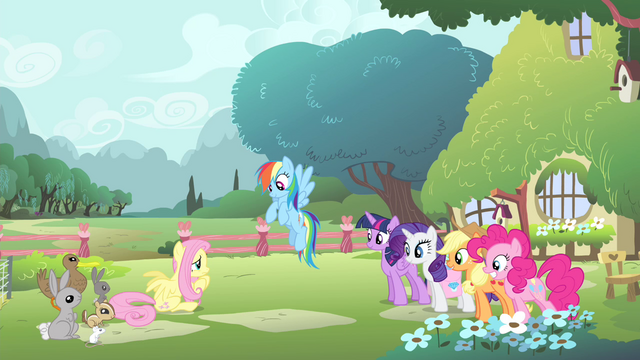 File:Fluttershy's friends looking at Fluttershy S4E14.png