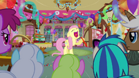 Fluttershy about to blow balloon S3E13