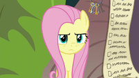 Fluttershy looks disapprovingly at Angel S9E18