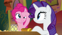Pinkie Pie poking her forehead again S6E12