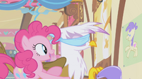 Pinkie guiding Gilda forward S1E05
