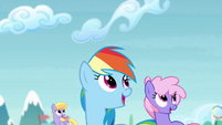 Rainbow and other ponies look up S4E10
