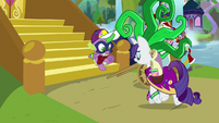 Rarity appears in a Mane-iac costume S9E19