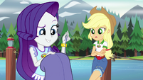 Rarity making one last stitch in her poncho EG4