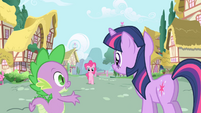 Spike --maybe ponies in Ponyville have interesting things to talk about-- S1E01