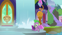 Spike reading a Power Ponies comic S9E5