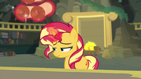 Sunset Shimmer clearing her workstation EGFF