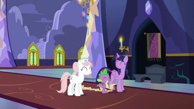 File:Twilight, Spike, and Redheart in happy agreement S7E3.png