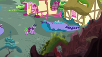 Twilight and Spike visit the ruins of the library S5E3