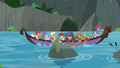AJ, Rainbow, and students canoe downstream S8E9.png