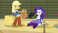AJ and Rarity looking at bouncing soccer ball EG2.png