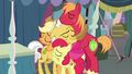 Apple siblings hugging their grandfather S7E13.png