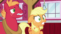 Applejack and Big Mac surprised by Granny's outburst S6E23