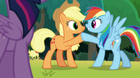 Applejack and Rainbow Dash hoof-bump S8E9