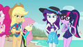 Applejack and Rarity glaring at Sunset EGFF.png