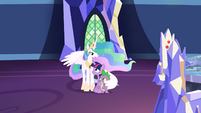 Celestia comforting Twilight and Spike S7E1