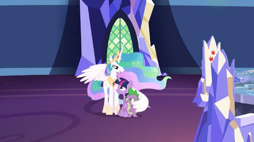 Celestia comforting Twilight and Spike S7E1