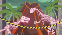 Dinosaur skeletons covered in pink aura EGDS1