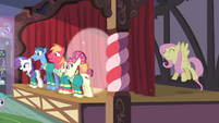 Fluttershy singing and Big Mac sweating S4E14