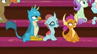 Gallus, Ocellus, and Smolder see Discord enter S8E15