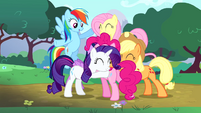 Main cast group hug around Pinkie S4E12