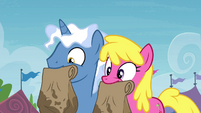 Royal Pin and Cherry Berry holding paper bags S4E22
