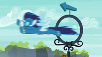 Soarin flying through a practice ring S7E21