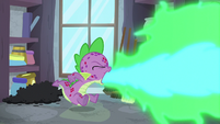 Spike belching fire inside the closet S8E11