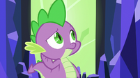 Spike listens to Twilight Sparkle unsure S6E22