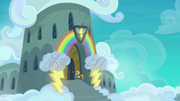 Spitfire outside the Wonderbolts' barracks S6E7