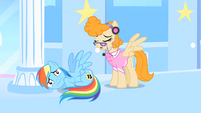 Superscared Rainbow Dash curled up on the floor S1E16