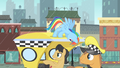 Taxi passenger pointing at the line of ponies S4E08.png