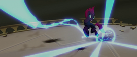 Tempest dodging the Storm King's attacks MLPTM