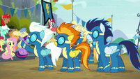 Wonderbolts wave to the crowd S6E7