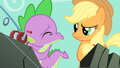 Applejack not sure what Spike is doing S1E19.png